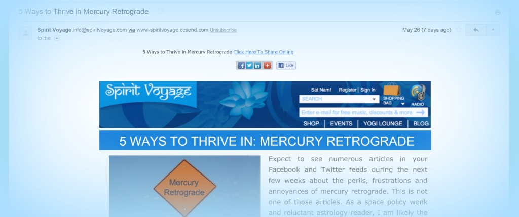 SV Newsletter Screenshot - Mercury Retrograde